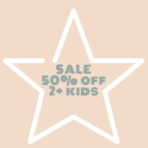 All kids and baby clothing, footwear 50% off 2+